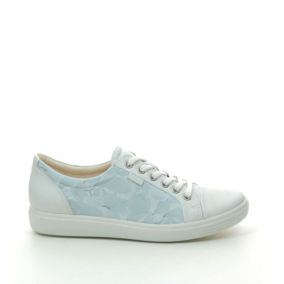 Ecco Soft 7 Lace White with Dusky Blue Flowers