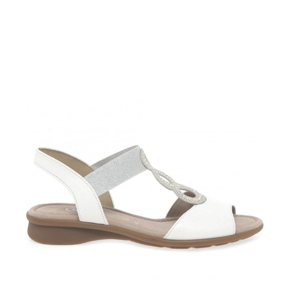 Gabor Merlin - Womens Embellished Open Toe White Flat Sandals