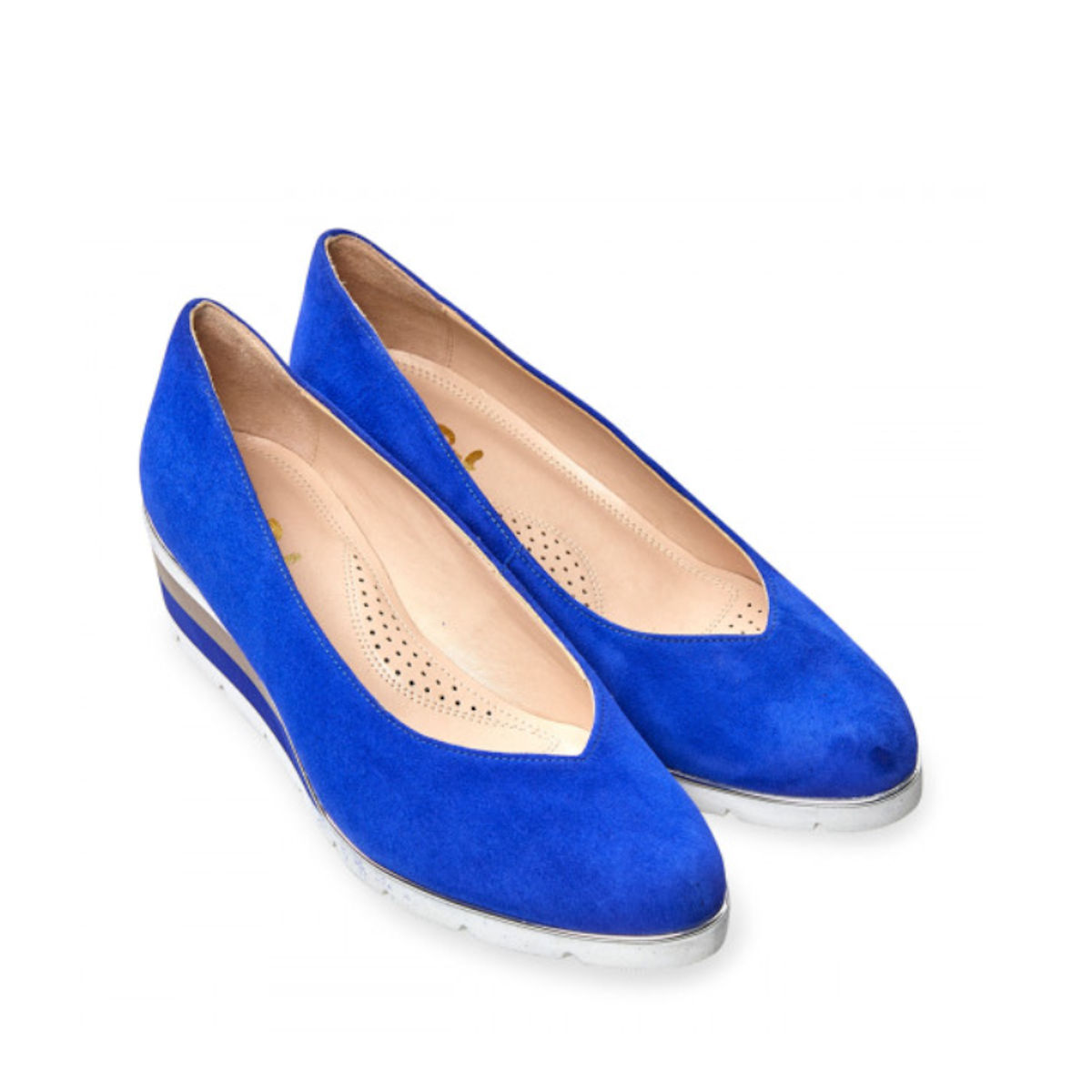 Van Dal Ariah Womens Ultramarine Suede Wedge Shoe