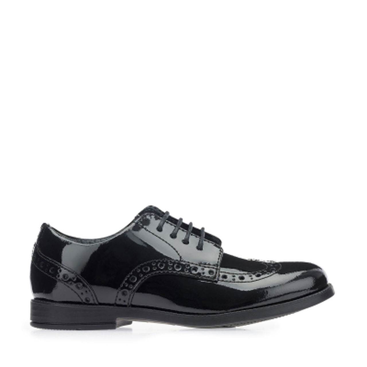 Start-rite Brogue SNR Girls Black Patent Shoe