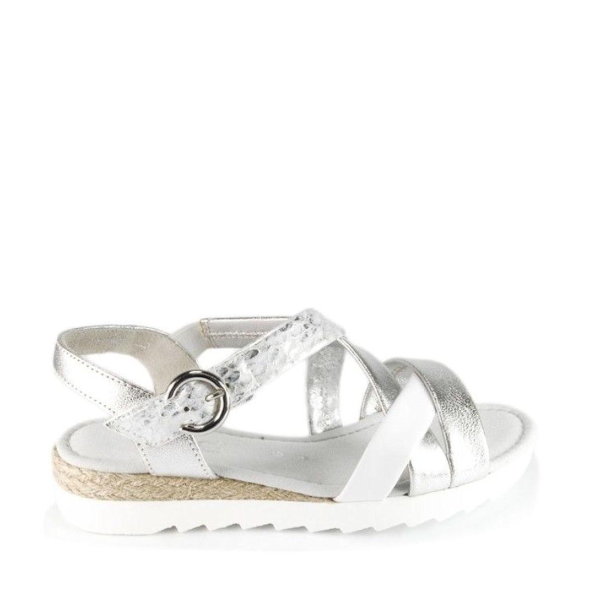 Gabor Elixir womems silver metallic flat sandals 42.741.90