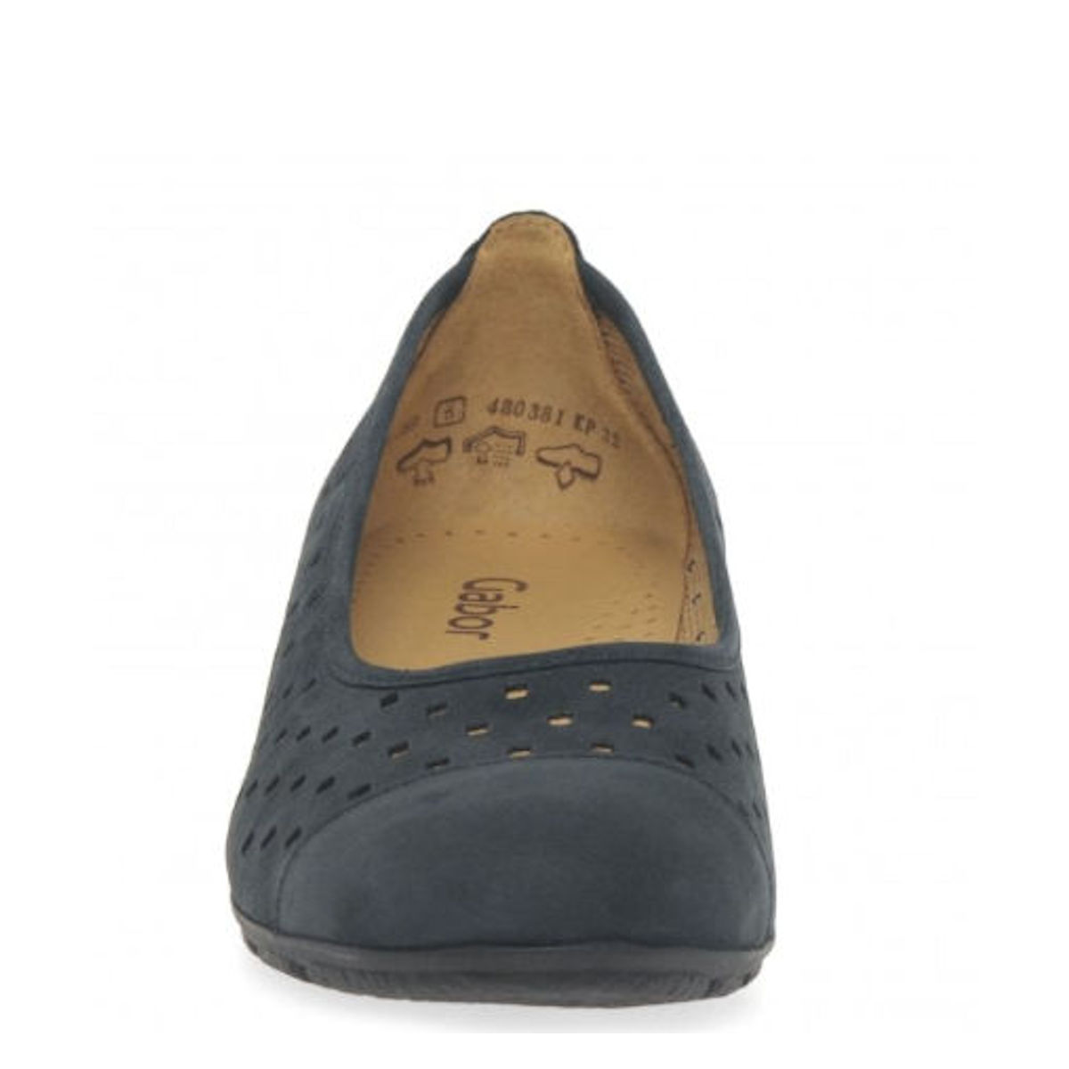 Gabor Ruffle - Womens Punched Detail Night Blue Casual Shoes
