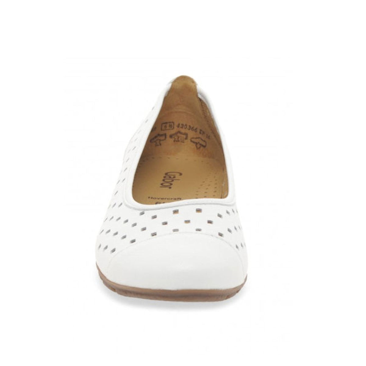 Gabor Ruffle - Womens Punched Detail White Casual Shoes