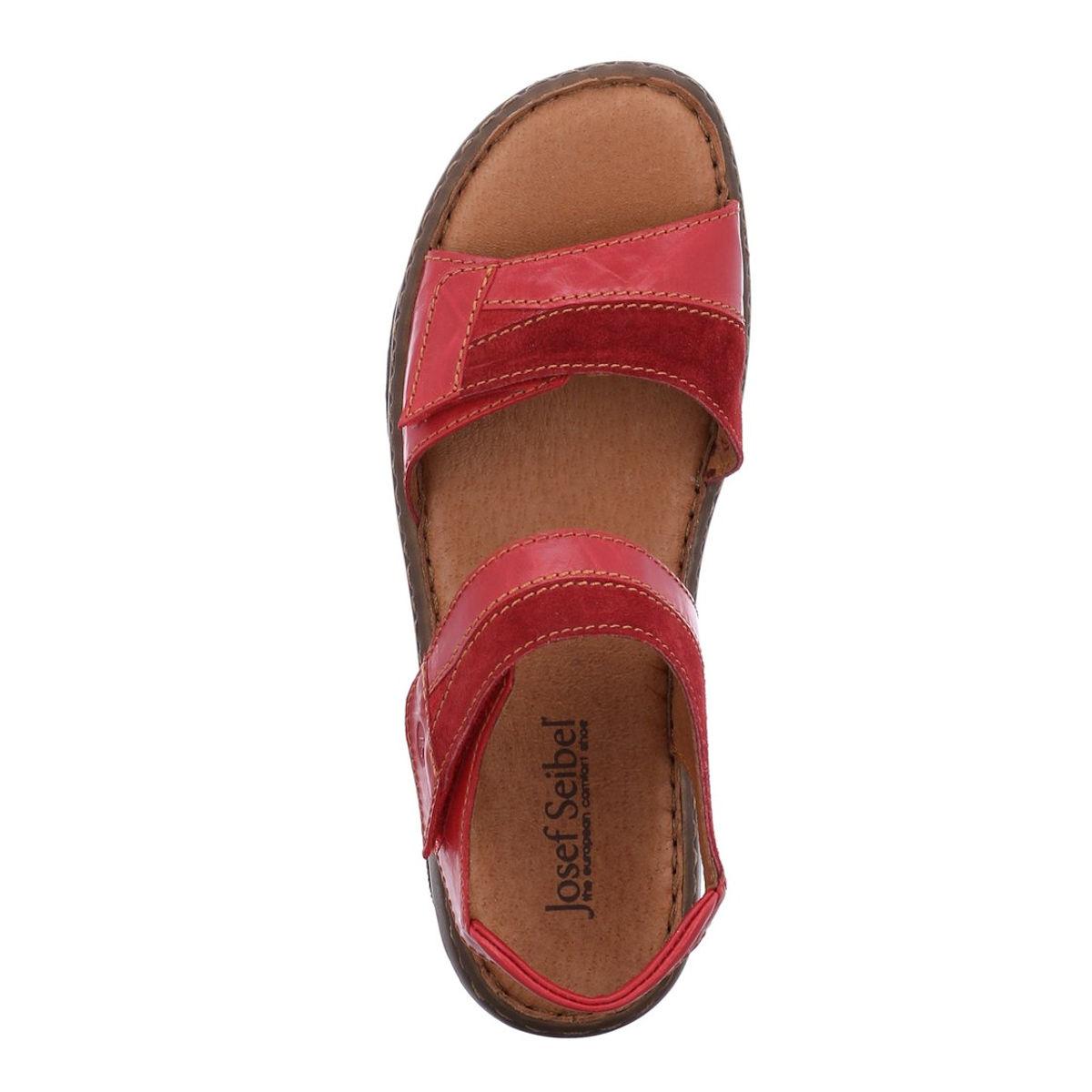 Josef Seibel Debra 19 - Womens Adjustable Red Leather Sandal