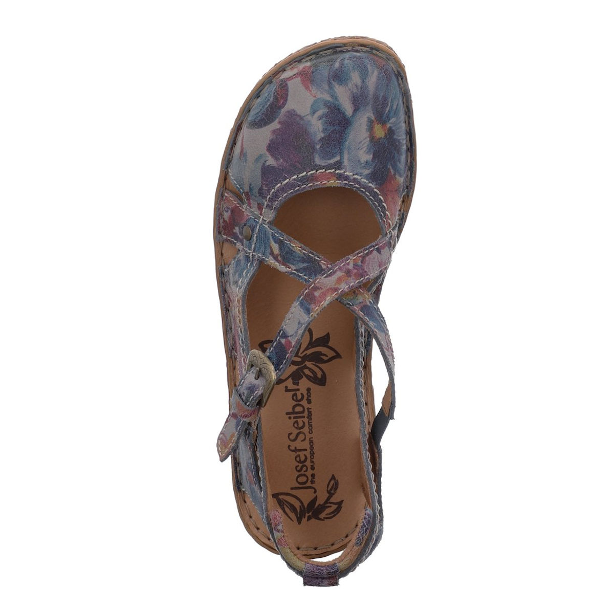 Josef Seibel Rosalie 13 Prints - Womens multi-coloured floral patterned leather closed toe sandals