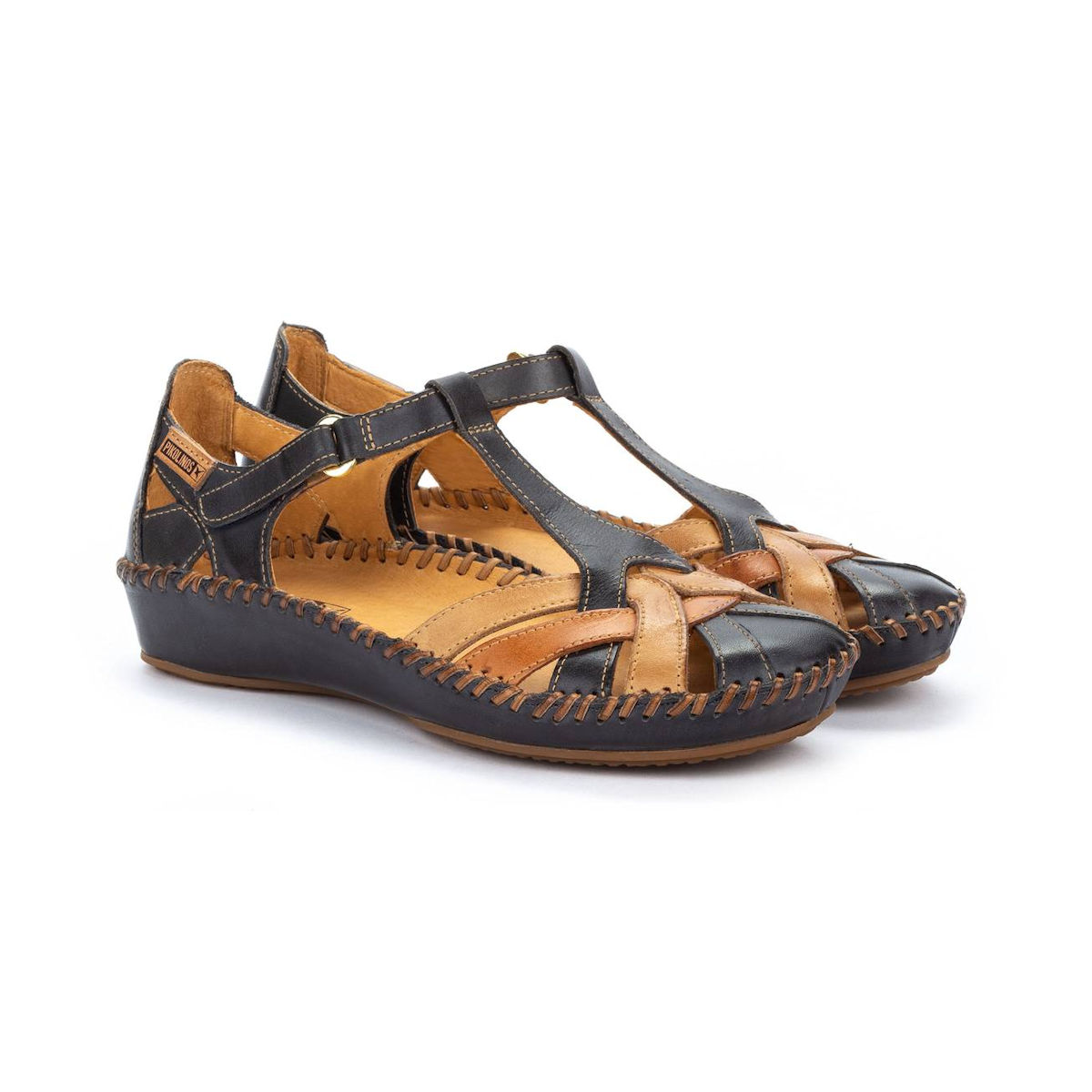 Womens Pikolinos P Valleta Navy/Brandy Closed Toe Sandal